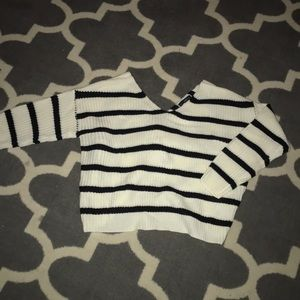 Striped Knit Sweater with Crossed Back